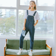 Preppy Style Women Jumpsuit Denim Overalls 2019 Spring Autumn Casual Jeans Pants Washed Fashion Button Loose Overalls цена