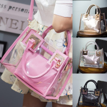 Women Candy Color Shoulder Bag Ladies Beach Travel Messenger Bag Waterproof Clear Tote Bag See Through Bag trendy zippers and candy color design women s tote bag