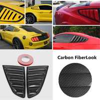 2pcs Carbon Fiber Look Style 1/4 Quarter Car Side Window Scoop Cover Five Slot Open Louvers Cover Vent For Mustang 2015 2017