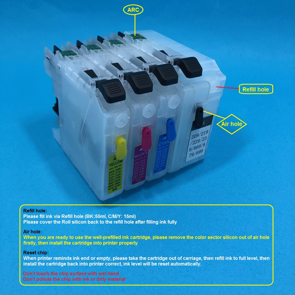 best top refillable ink cartridge for brother lc225 list and get