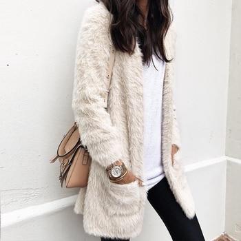 Chaqueta de piel sintética 2018 para mujer, cárdigan de lana para invierno, abrigo de oso de peluche de felpa, abrigo de abrigo informal cálido con bolsillos, abrigo S-XL