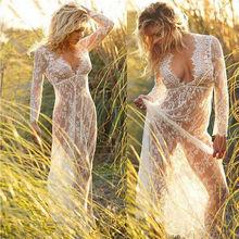 Женский кружевной пляжный купальник, длинное платье, прозрачный Кардиган с длинным рукавом, летний купальник, популярная женская пляжная одежда