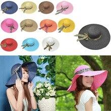 Women Broadside Beach Hat Lady Derby Bow Cap Hot Wide Brim Floppy Fold Summer Bohemia Sun Straw Chapeu De Palha