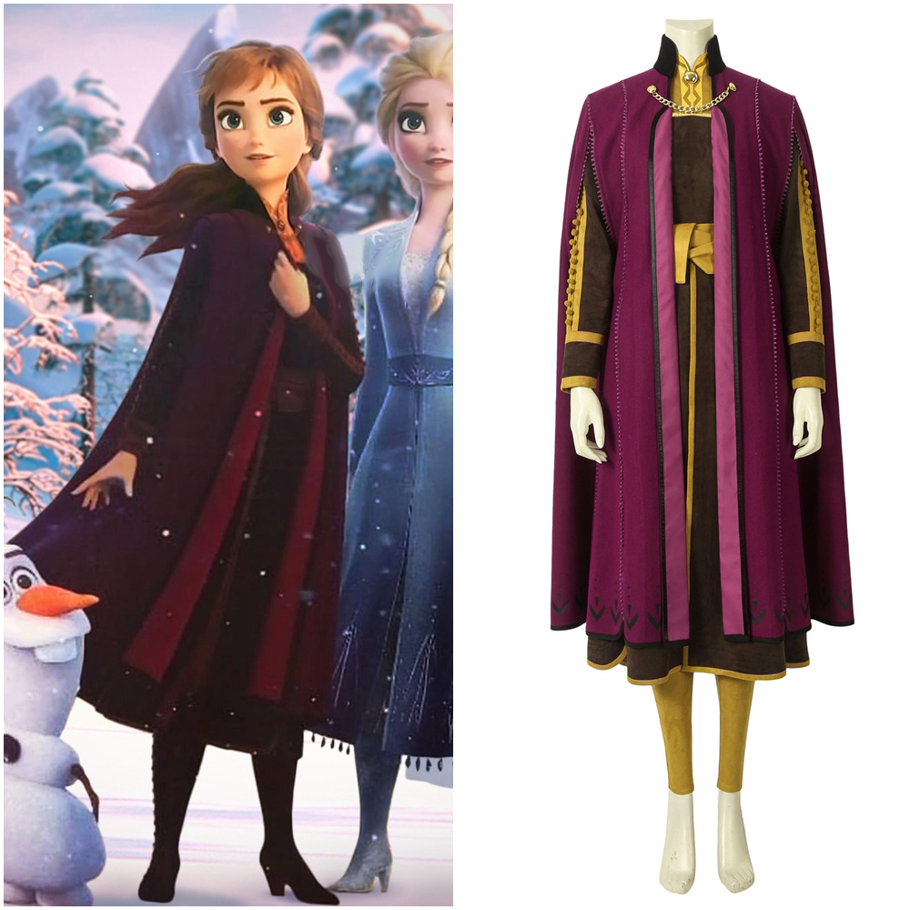Frozen 2 Princess Anna Cosplay Costume Fancy Dress Outfit with Cloak