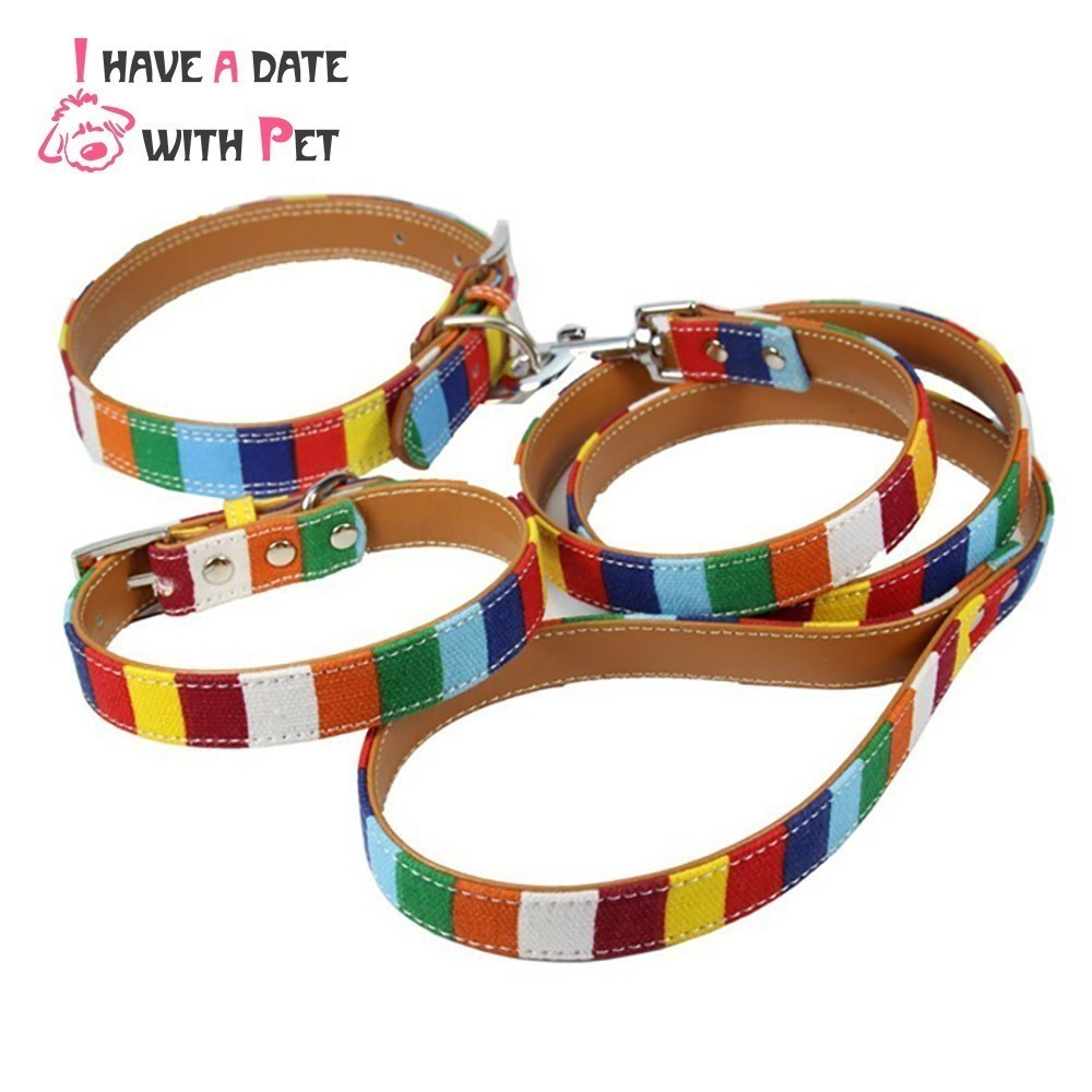 (1 krage + 1 koppel) S M L XL XXL Läder Hund krage Led Set Designer kanvas Pu Läder Färgrik Plain Pet Dog Collar Leash Set