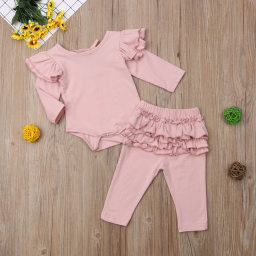 2Pcs <font><b>Newborn</b></font> <font><b>Baby</b></font> <font><b>Girl</b></font> <font><b>Clothes</b></font> Tops Romper Ruffle Pants <font><b>Autumn</b></font> Spring Outfits <font><b>Clothes</b></font> Set image