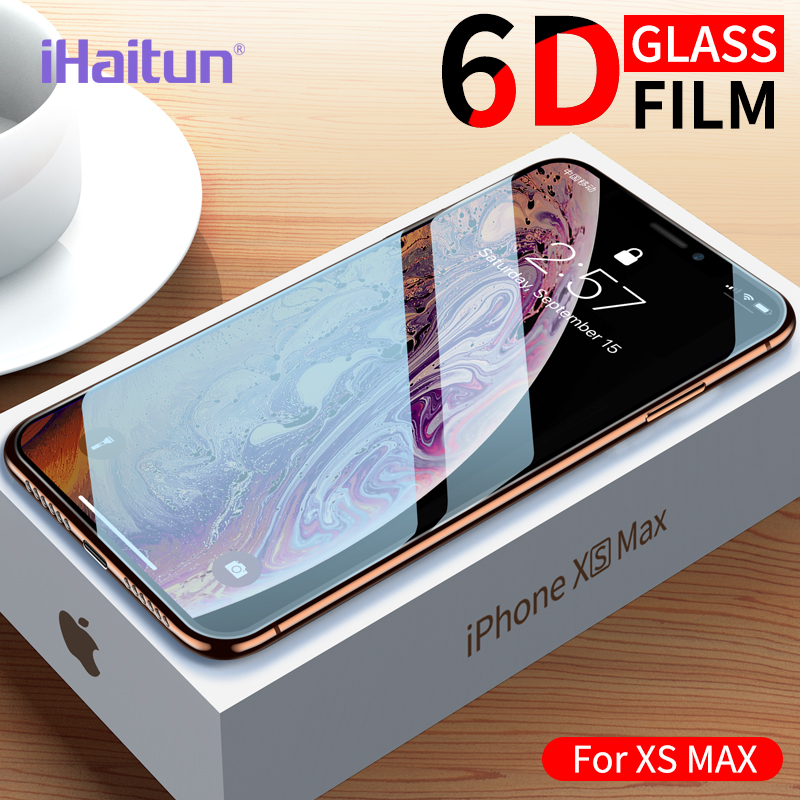 iHaitun Luxury 6D Glass For iPhone XS MAX XR X Screen Protector Curved Tempered Glass For iPhone X 10 7 8 Plus Full Cover Film(China)