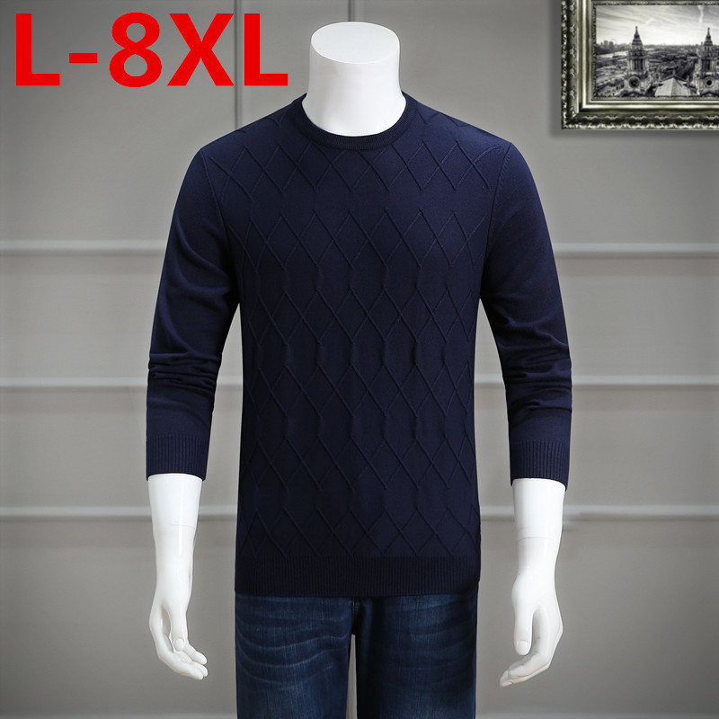 Plus Size 8xl 7xl 6xl 5xl Men New Autumn Leisure Round Neck Wool Pullover Color Matching Sweater 9xl 6xl 5xl 4xl Big Size Large