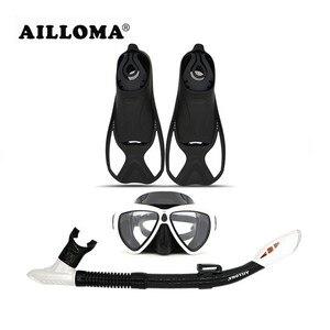 AILLOMA Diving Mask Snorkel Fins Set Adult Full Dry Tube Flipper Scuba Anti-Fog Swimming Goggles Breathing Equipment Sets