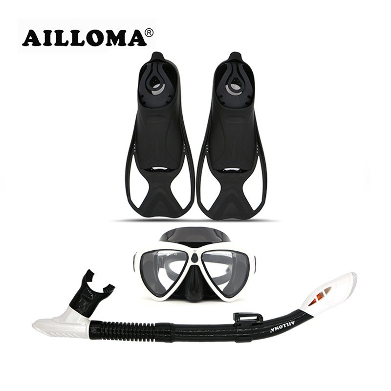 AILLOMA Diving Mask Snorkel Fins Set Vuxen Full Dry Tube Flipper Scuba Anti-Fog Svampglasögon Andningsapparater Set