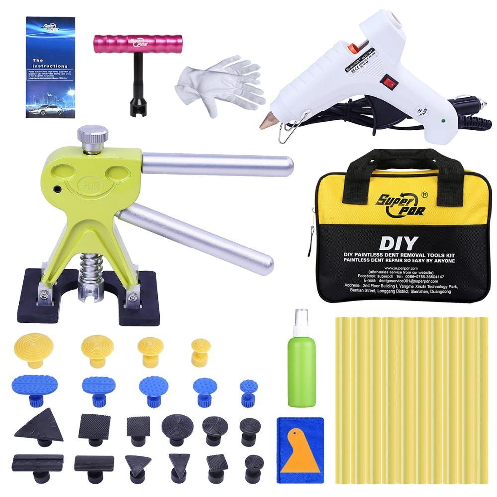 Super PDR Tools Kit For Car Dent Pullers Suction Cup Glue Tabs Paintless Dent Removal Kit Hand Tool Set Ferramentas 12V Glue Gun pdr tools for car kit dent lifter glue tabs suction cup hot melt glue sticks paintless dent repair tools hand tools set