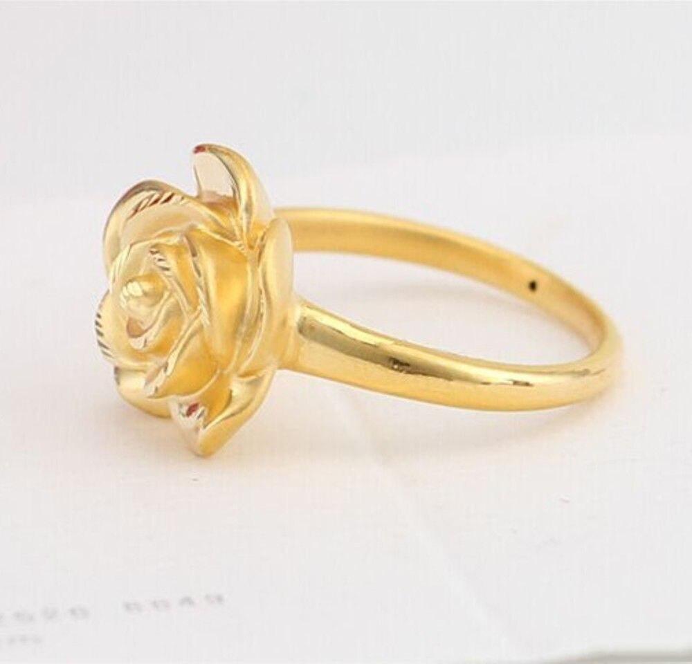Кольцо с 3D розой 999 24K, желтое золото, 1 шт., размер: 5 & 7