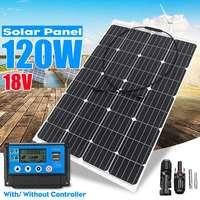120 Вт 18 в солнечная панель гибкий монокристаллический солнечный элемент модуль + 10/20/30/40/50A ШИМ регулятор контроллер наружное зарядное устрой