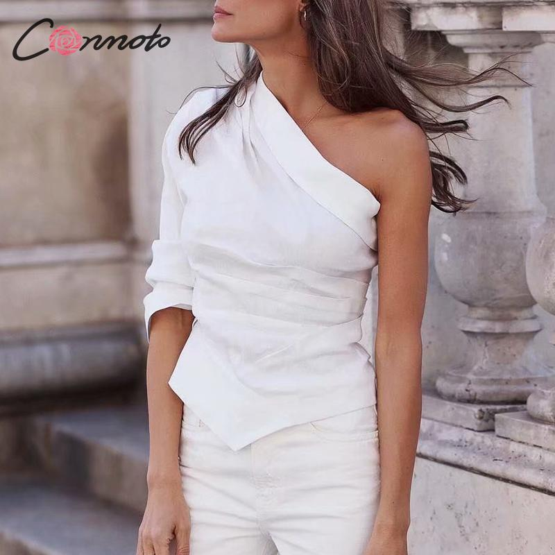 Women Fashion High Street Sexy One Shoulder Skew Neck Shirt 2019 Summer Chic Women Tops and Blouse Casual White Blusa