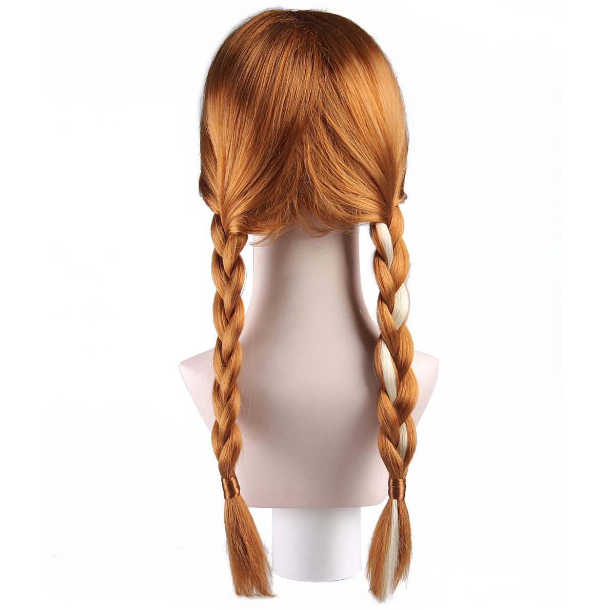 Child Strawberry-Blonde Wig Styled Two Braided Pigtails With Bangs Teen Princess Anna Synthetic Hair Comic Con Cosplay Accessory