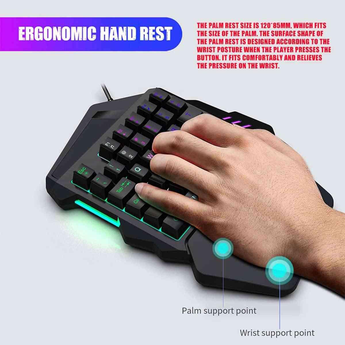 LED Mekanik Tek elle Klavye/Kablolu Oyun Fare/Kulaklık Için Oyun LOL/Dota/PUBG Zarif RGB Bilgisayar Çevre Birimleri