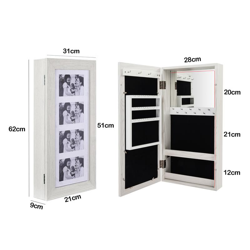 New Simple PVC Wood Grain Coating Photo Storage Damp proof White Jewelry Mirror Cabinet Durable Beautiful Mirror Cabinet