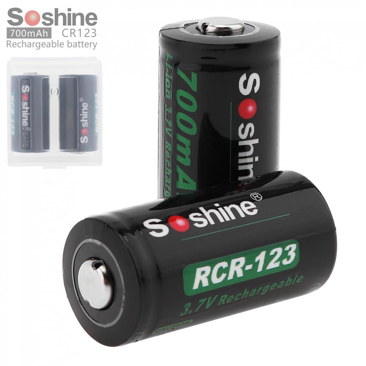 Peças RCR123 2 Soshine Li-ion 16340 Bateria Recarregável 700 V 3.7 mAh Li-ion 16340 baterias + Caixa de Bateria Caixa de Armazenamento