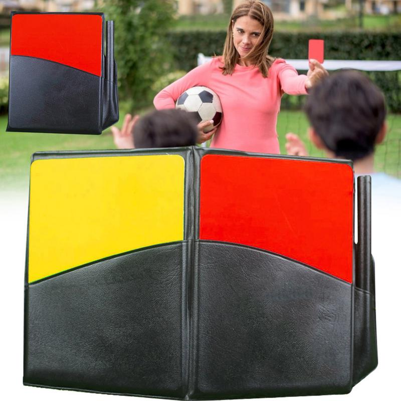 Fluorescent Red Yellow Card With Leather Wallet Pencil Recording Paper Soccer Referee Recording Red Yellow Cards