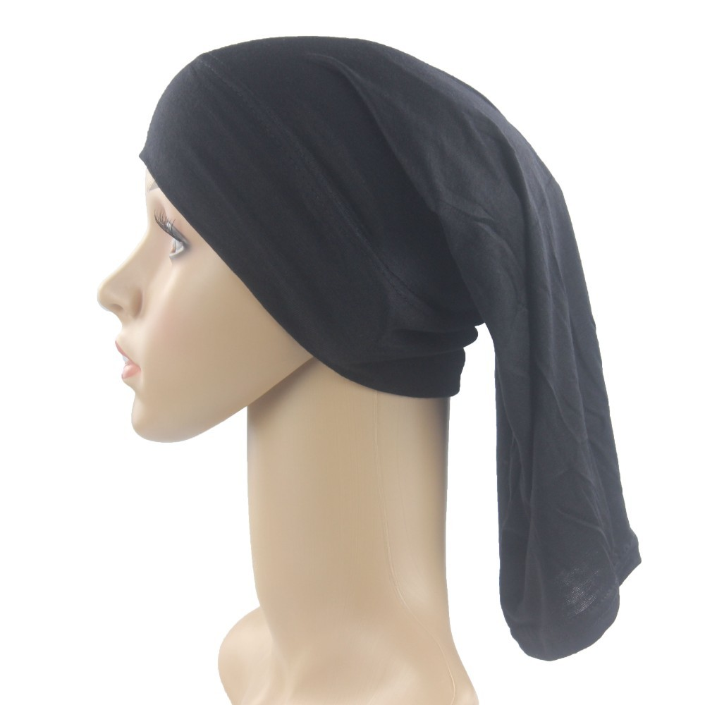Muslim Cotton Underscarf Cap Long Inner Hijab Hats Islamic Hejab  Headwrap Solid Color Very Soft StretchIslamic Clothing