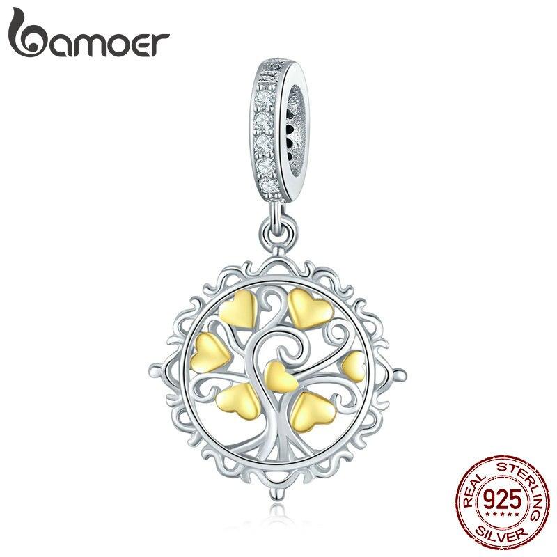 BAMOER 100% de amor de la plata esterlina 925 de árbol de la vida colgante claro CZ Charm fit pulseras del encanto collares Fabricación de la joyería DIY SCC857