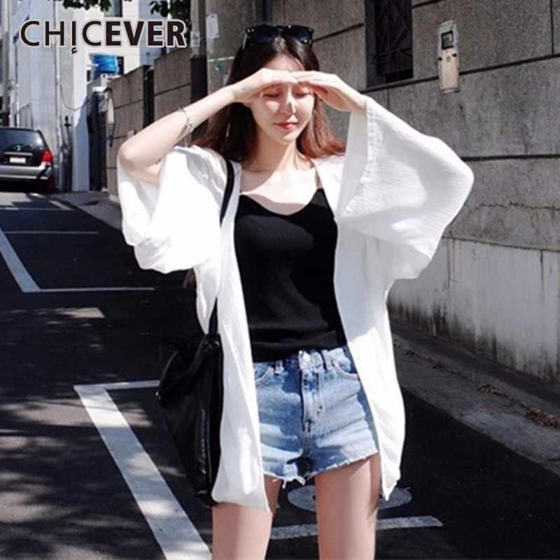 CHICEVER белая блузка 2019 летние женские топы с v-образным вырезом и рукавом летучая мышь свободные большие размеры солнцезащитный крем корейская модная одежда Новинка