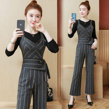 striped overalls Korean fashion jumpsuits & T shirt gentle women clothing set 2019 spring autumn new 2 pcs outfit lady vestido