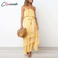 Conmoto Strapless Female Casual Beach Summer 2019 Dress Women Sexy Maxi Beach Dresses Stripe Yellow Long Vintage Dress Vestido