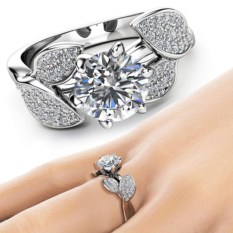 Sale Elegant CZ Crystal Silvery Rings for Women Dazzling Flower Ring  Zircon ANNIVERSARY Ring Jewelry Gifts
