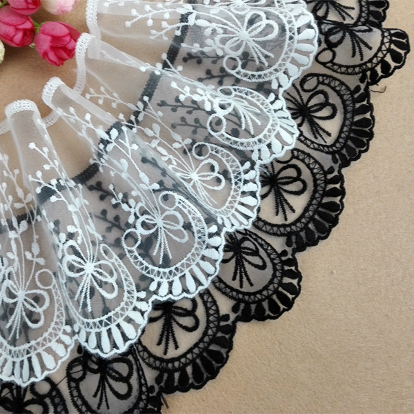 Luxury Tulle Organza Dubai Lace Fabrics White Black Embroidered Lace  Appliques Edge Trim Ribbon For DIY Wedding Dresses L008