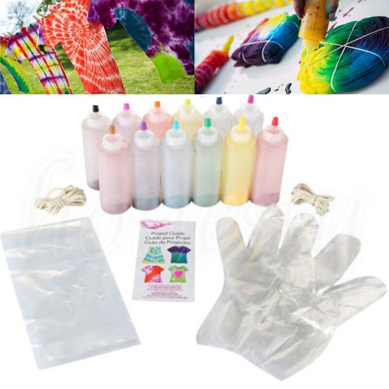 12 cores Tie Dye DIY Um Passo Kit Têxtil Tecido Cor de Tinta Permanente Para Vestuário Artesanato Artes De Reposição Conjunto de Design