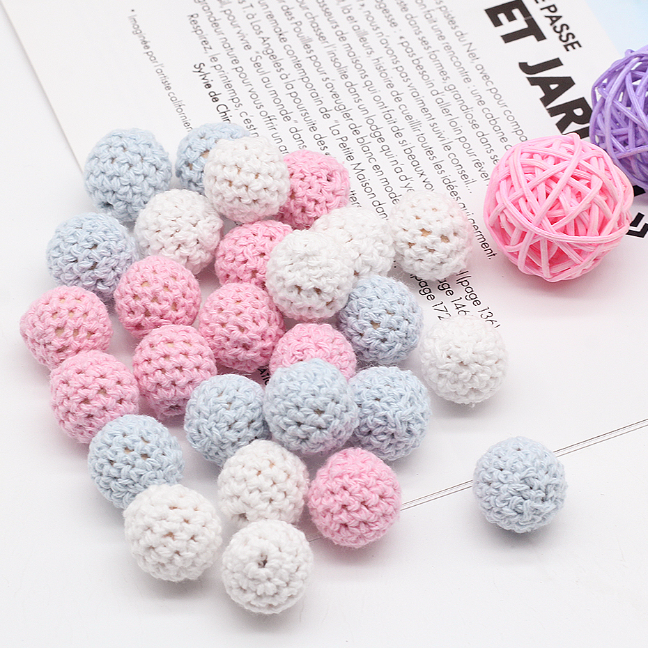 20pc/lot Crochet Round Wooden Beads Mix Color Handmade 15mm Ball Chew DIY Nursing Jewelry Organic Teething Pacifier Chain Beads