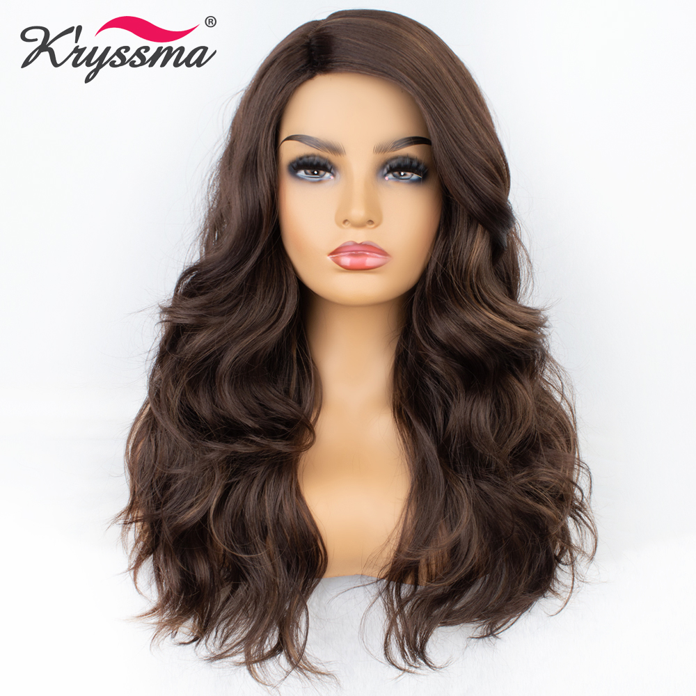 Kryssma Synthetic Wig Brown Wig For Women Long Wavy Mixed Highlight Deep Parting Wigs For Women Natural Hairline Hair Cosplay image