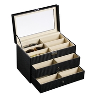 Three Layers 18 Grid Sunglasses Box Eyeglass Storage Organizer Drawer Box Collector Sunglasses Storage Box