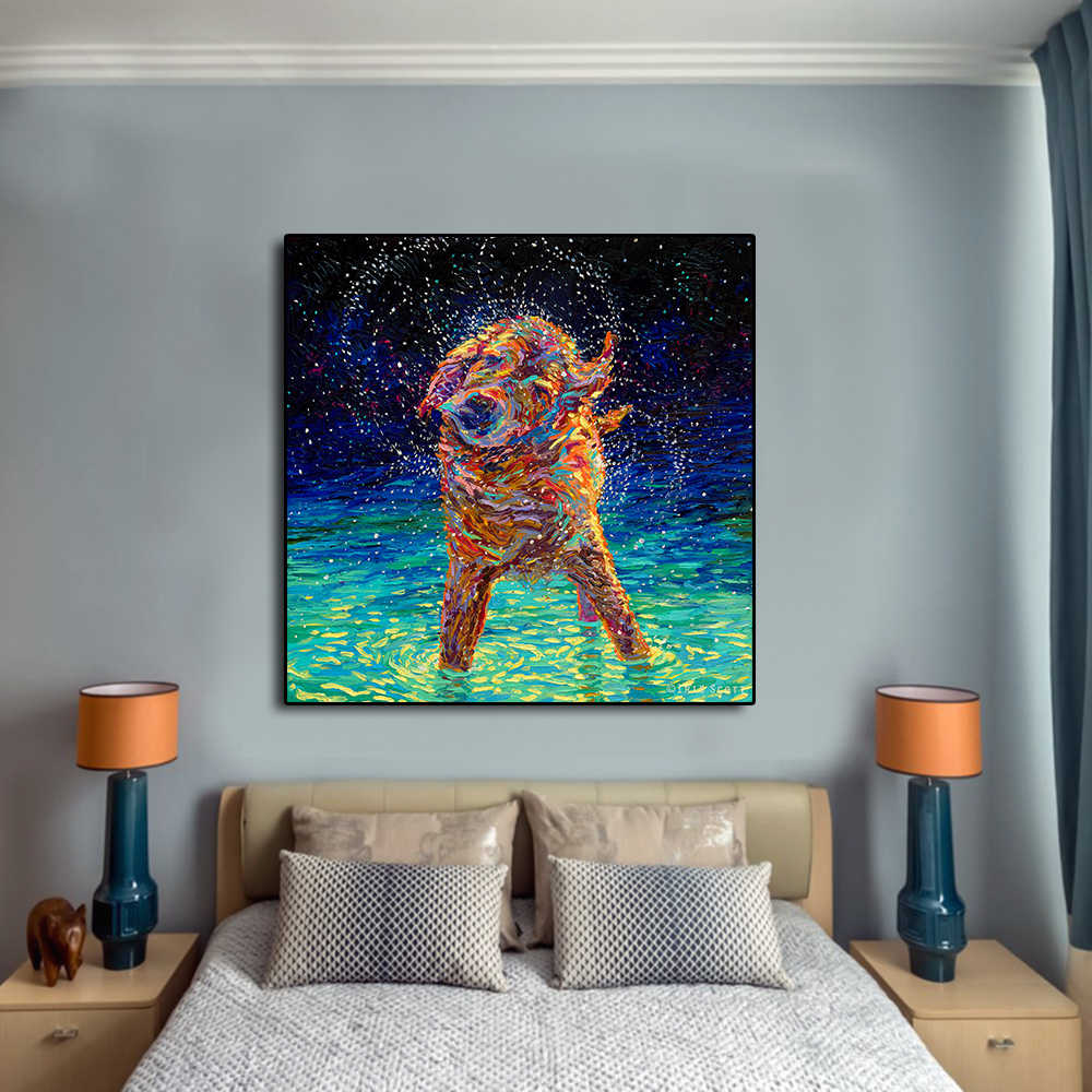 AAVV Oil Painting Home Decor on Canvas A Colorful Dog Is Drowning Wall Posters and Prints Canvas for Living Room NO Frame