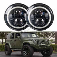 40W led headlamp H4 dual sealed beam 7inch round led headlight with halo signalfor offroad Wrangler TJ CJ 4x4 truck motorcycle