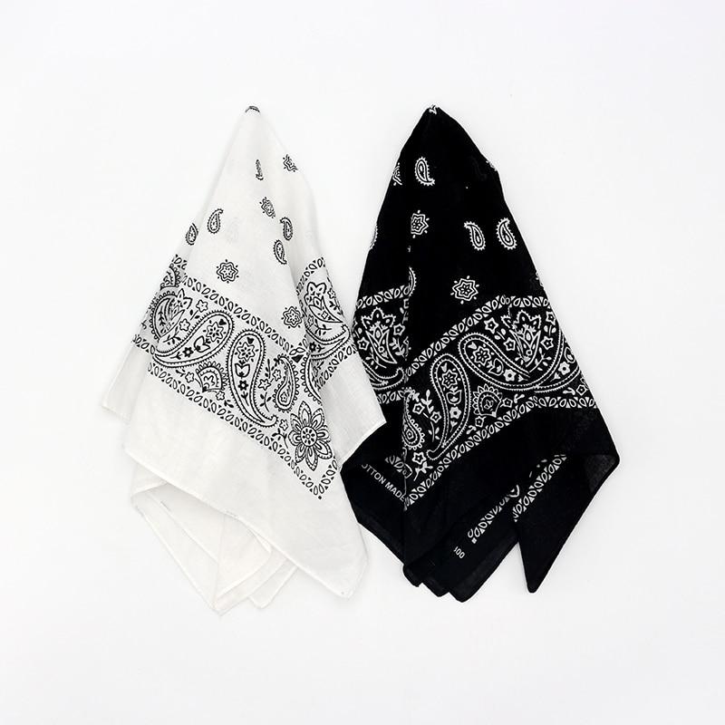 Black White Cotton Bandanas Men Pocket Squares Scarves Paisley Headband Women Hairband Handkerchief