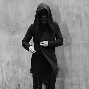 Gothic men's clothing layer alternative personality asymmetry, self-cultivation of the hooded singer jacket