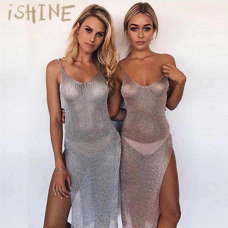 iSHINE nyújtható nők nyáron szexi strand ruha, alkalmi ruhákból kifelé, félig estélyi, elegáns, kötött ruházat