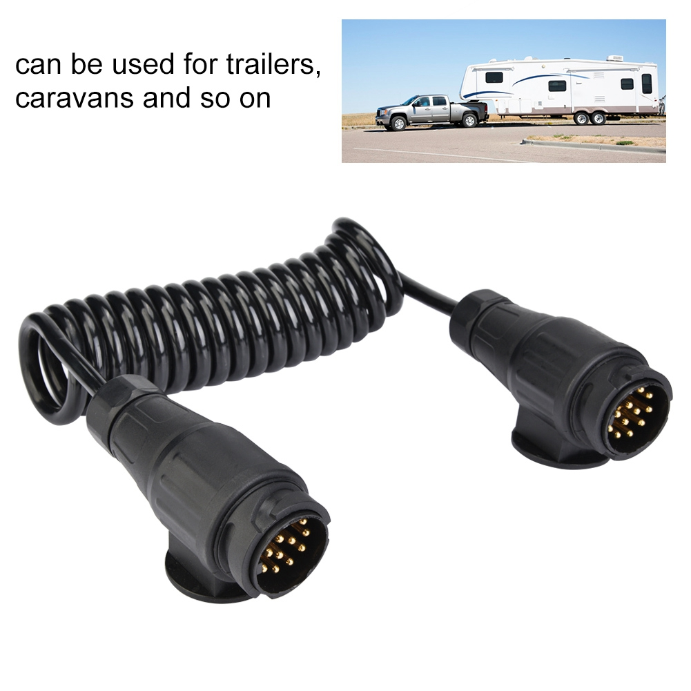 Europe 13 Pin Trailer Plug Wiring Spring Cable Connector Adapter for Trailer Caravan to power trailer or caravan lights