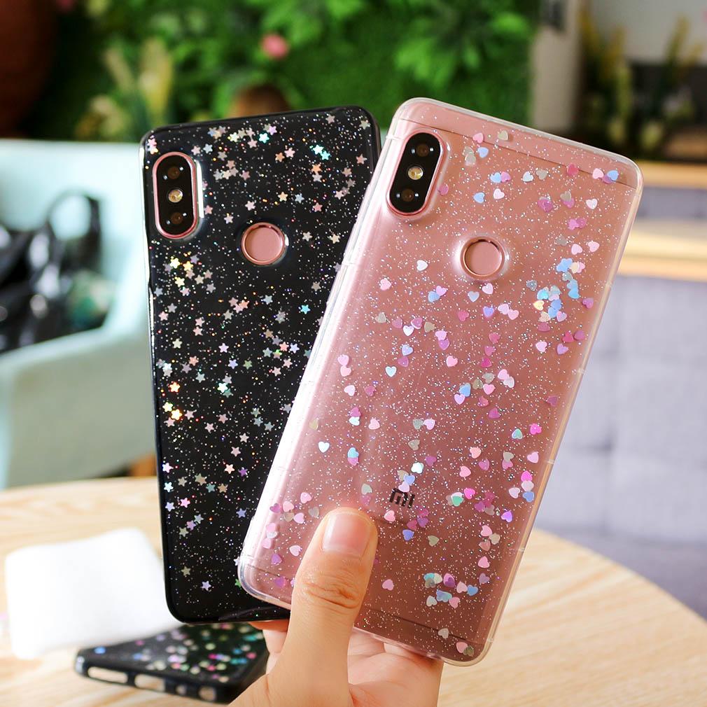 Silicone Case For Xiaomi Redmi Note 5 6 Pro MI A2 Lite Glossy Funny Glitter Star Back Cover TPU Cute For Xiaomi Redmi Note 5