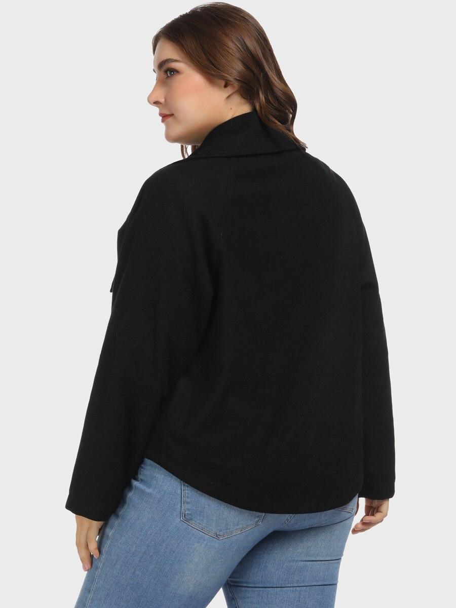 Bouton Grande Recadrée Black Laine Taille Femmes Revers Patte Manteau Col Mélanges À 5vYnxSO