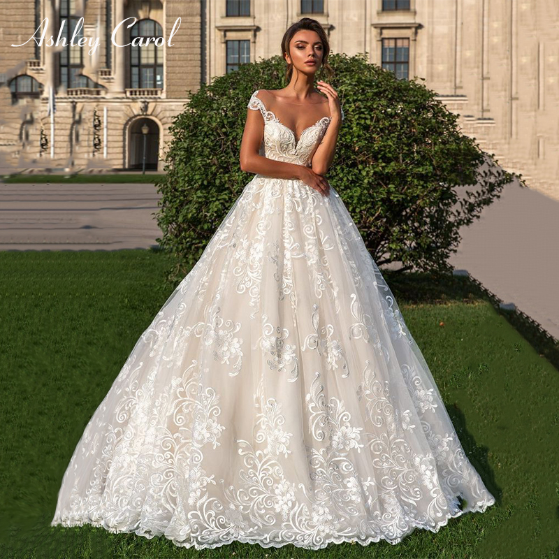 Ashley Carol A-Line Wedding Dress 2019 V-neck Sleeveless Court Train Elegant Backless Princess Bride Dresses Vestido De Noiva
