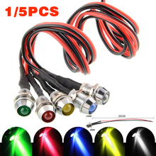 цена на Mayitr 12V 8mm Mini LED Indicator Light Bulbs Dash Dashboard Panel Warning Lamp For RC Car