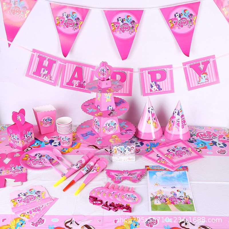 Toys Set Birthday-Decorations Little-Pony Kid Supply Tableware-Sets Event-Mask Favor-Pack