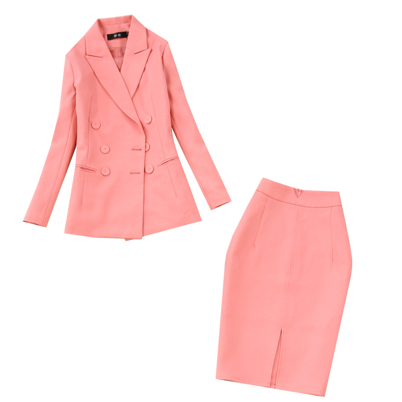 Set female spring new fashion long-sleeved double-breasted pink OL temperament professional suit + bag hip split skirt two-piece Price $33.10