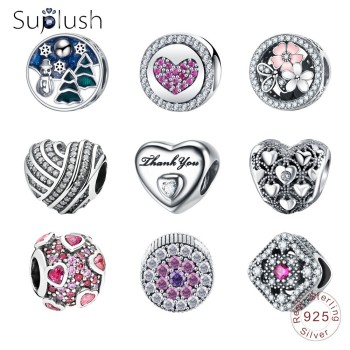 Suplush Sparkling Charms Bead 100% 925 Sterling Silver Charm Fit Original Brand Bracelet DIY Jewelry Accessories Gifts for Women Beads