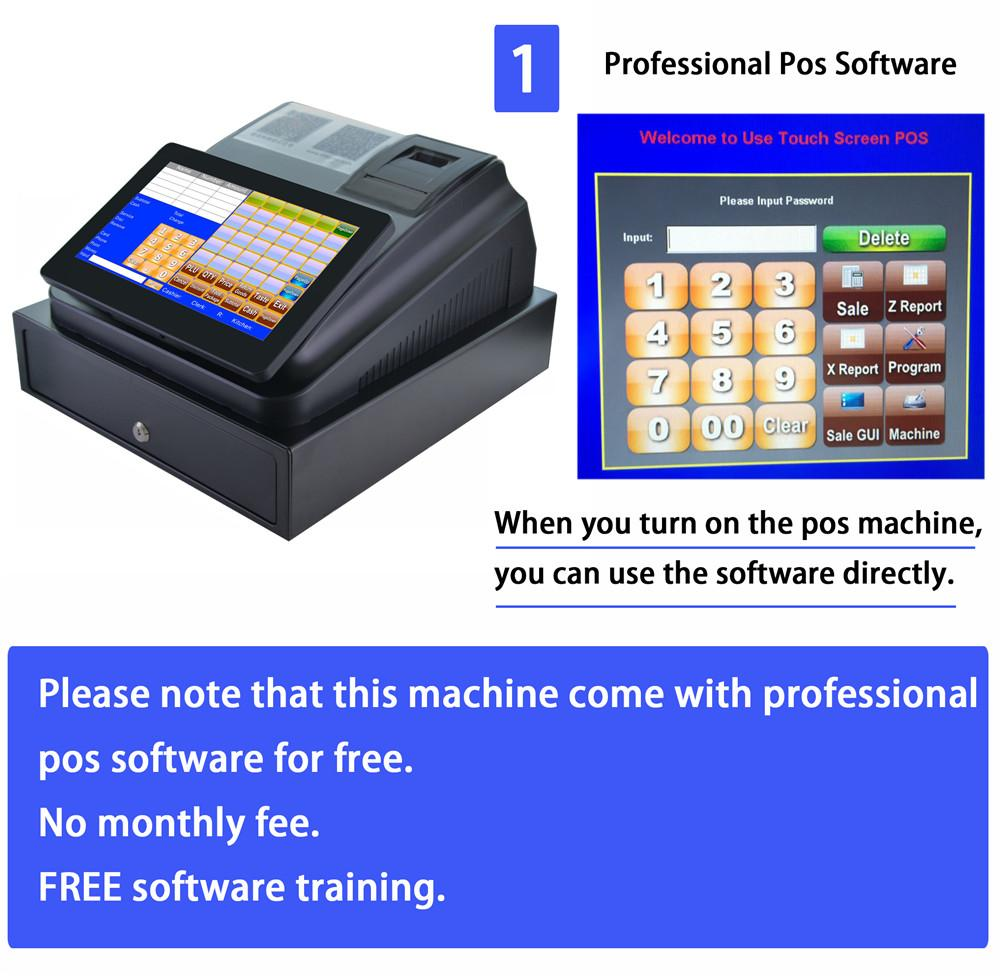 US $332 1 10% OFF|With Professional POS Software 10 inch Touch Screen POS  System ECR Cash Register Machine For Restaurant Or Retail Store-in Printers