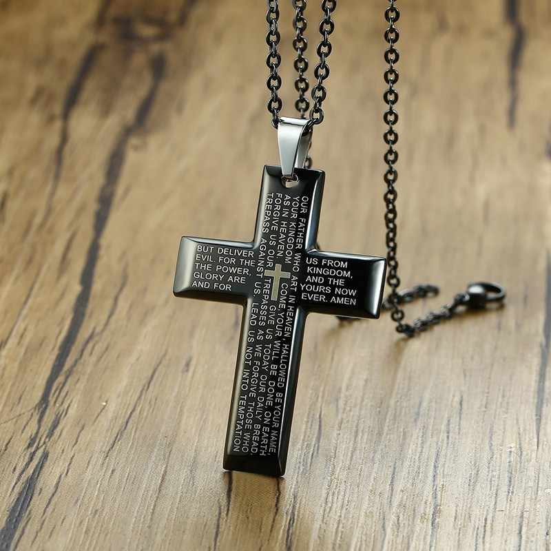 Crucifix Necklace Our Father Prayer Men Cross Pendant Black Silver Chain Spanish Prayer Medal Religious Medals Christian Jewelry