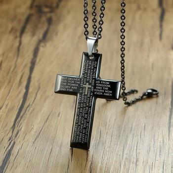 186b6e2a5a40 Crucifijo collar nuestro padre oración hombres Cruz negro colgante de cadena  de plata español oración medalla medallas religiosas Christian joyería